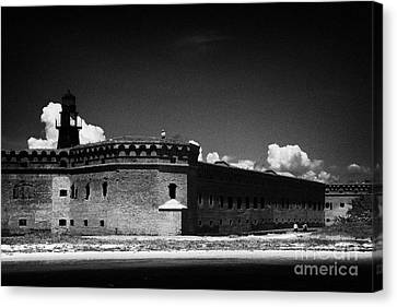 Fort Jefferson Walls With Garden Key Lighthouse Bastion And Moat Dry Tortugas National Park Florida  Canvas Print by Joe Fox
