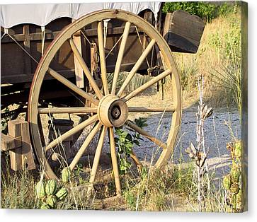 Wagon Wheels Canvas Print - Fort Laramie Wy - Moving West On Wagon Wheels by Christine Till