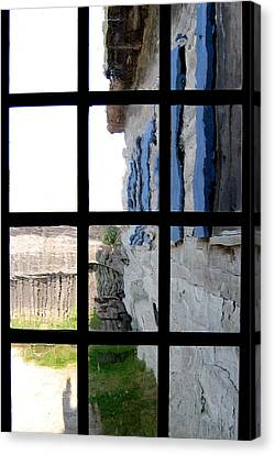 Canvas Print featuring the photograph Fort Mackinac Through An Old Window by Mary Bedy