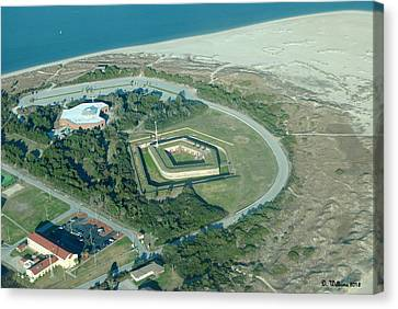 Fort Macon From The Air Canvas Print by Dan Williams