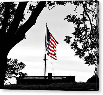 Canvas Print featuring the photograph Fort Mchenry Flag Color Splash by Bill Swartwout