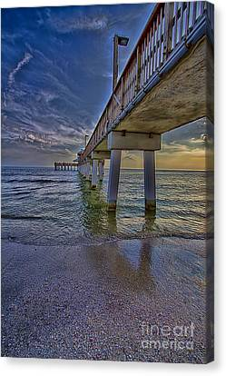 Fort Myers Beach Pier Canvas Print by Anne Rodkin