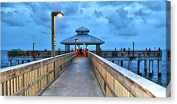 Canvas Print featuring the photograph Fort Myers Beach Pier by Rosemary Aubut