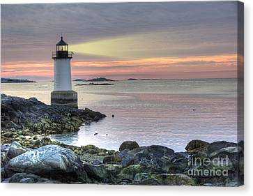 Fort Pickering Lighthouse At Sunrise Canvas Print