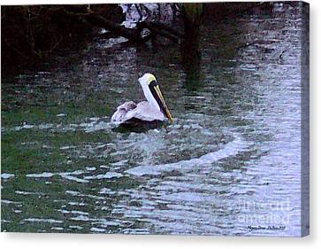 Canvas Print featuring the photograph Fort Pierce Pelican by Megan Dirsa-DuBois