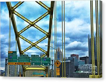 Fort Pitt Bridge And Downtown Pittsburgh Canvas Print by Thomas R Fletcher
