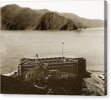 Fort Point And The Golden Gate San Francisco Circa 1890 Canvas Print by California Views Mr Pat Hathaway Archives