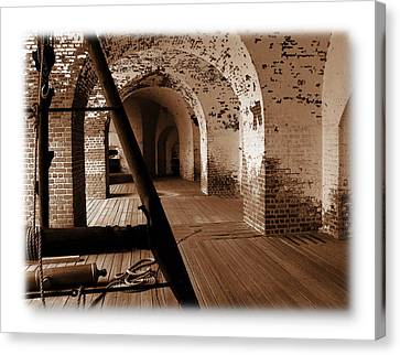Canvas Print featuring the photograph Fort Pulaski Arches Sepia by Jacqueline M Lewis