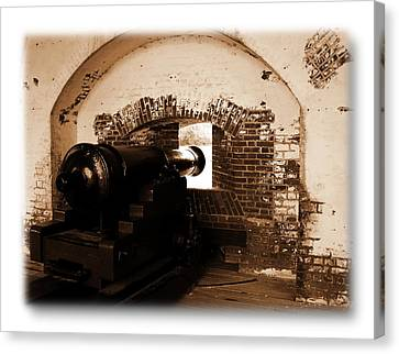Canvas Print featuring the photograph Fort Pulaski Canon Sepia by Jacqueline M Lewis