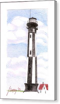 Canvas Print featuring the painting Fort Story Lighthouse Virginia  Beach Va by Rod Ismay