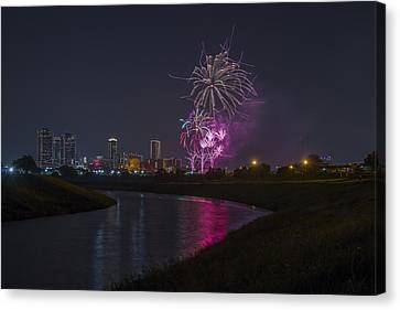 Fort Worth Fourth Of July Fireworks Canvas Print