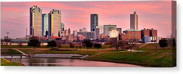Canvas Print featuring the photograph Fort Worth Skyline At Dusk Evening Color Evening Panorama Ft Worth Texas  by Jon Holiday