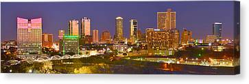 Canvas Print featuring the photograph Fort Worth Skyline At Night Color Evening Panorama Ft. Worth Texas by Jon Holiday