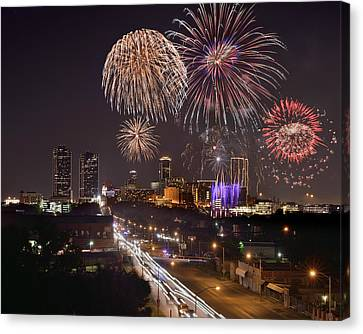 Canvas Print featuring the photograph Fort Worth Skyline At Night Fireworks Color Evening Ft. Worth Texas by Jon Holiday