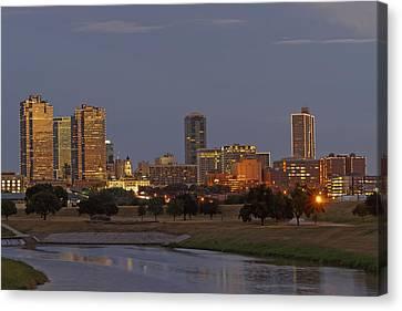 Fort Worth Skyline Golden Hour Canvas Print