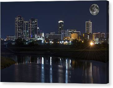 Fort Worth Skyline Super Moon Canvas Print