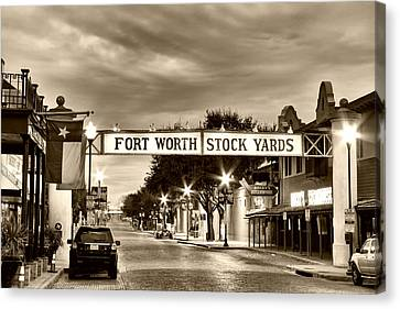 Fort Worth Stock Yards In Sepia Canvas Print