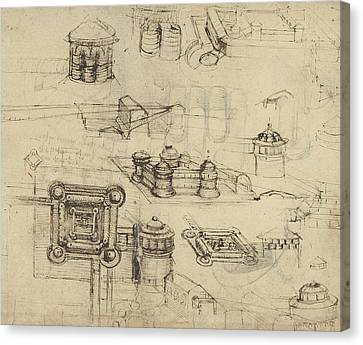 Exploration Canvas Print - Fortress From Atlantic Codex  by Leonardo Da Vinci