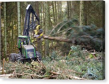 Forwarder Forestry Vehicle Canvas Print by Ashley Cooper