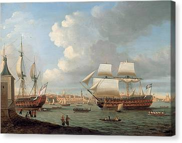 Foudroyant And Pegase Entering Portsmouth Harbour Canvas Print by Dominic Serres