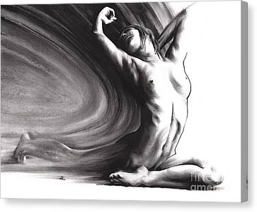 Black And White Human Figure Drawing Canvas Print - Fount Iv by Paul Davenport