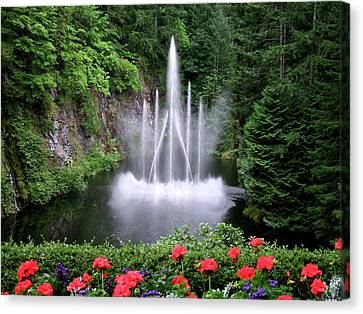 Fountain And Flowers Canvas Print