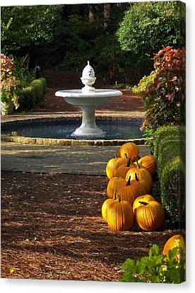 Canvas Print featuring the photograph Fountain And Pumpkins At The Elizabethan Gardens by Greg Reed