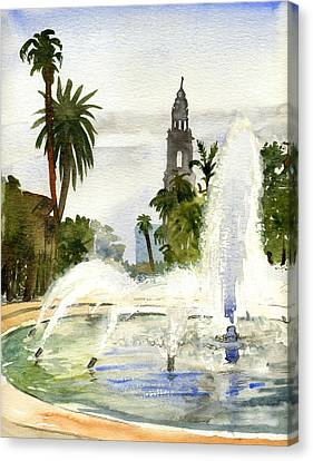 Fountain At Balboa Park Canvas Print