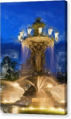 Fountain At Dusk Canvas Print by Ayse Deniz