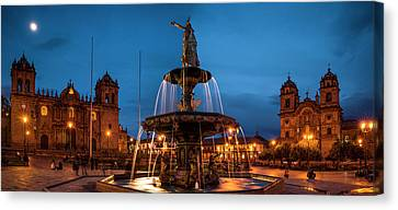 Fountain At La Catedral, Plaza De Canvas Print by Panoramic Images