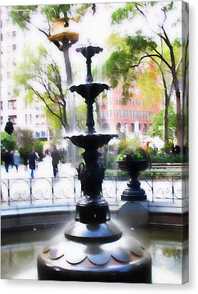 Newyorkcity Canvas Print - Fountain At Madison Squire Park - Artwork by Jake Danishevsky