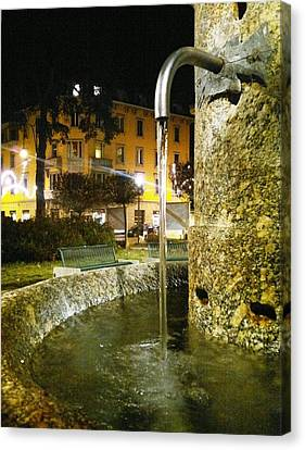 Fountain At Night Canvas Print by Giuseppe Epifani