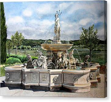 Fountain At The Vineyards Edge Canvas Print by Gail Chandler