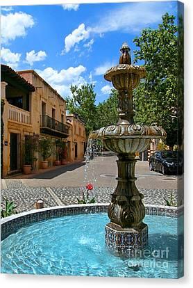 Fountain At Tlaquepaque Arts And Crafts Village Sedona Arizona Canvas Print by Amy Cicconi