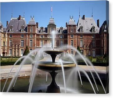 Fountain, Chateau, Eu, Normandy, France Canvas Print