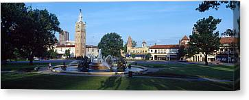 Fountain In A City, Country Club Plaza Canvas Print by Panoramic Images