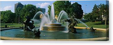 Fountain In A Garden, J C Nichols Canvas Print by Panoramic Images