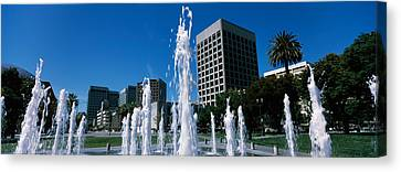Fountain In A Park, Plaza De Cesar Canvas Print by Panoramic Images