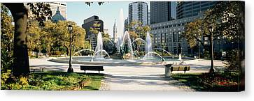 Fountain In A Park, Swann Memorial Canvas Print by Panoramic Images