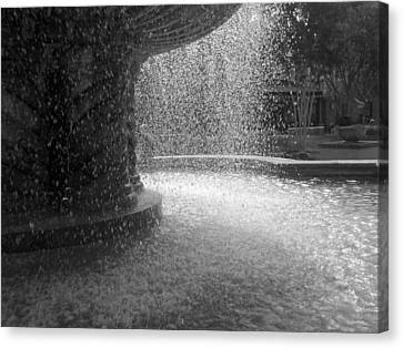 Canvas Print featuring the photograph Fountain In Black And White by Richard Stephen
