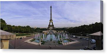 Trocadero Canvas Print - Fountain In Front Of A Tower, Eiffel by Panoramic Images