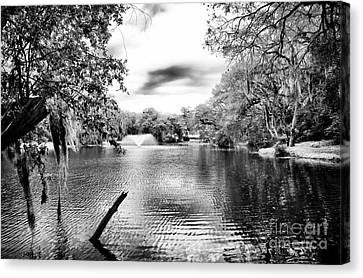 Fountain In The Pond Canvas Print by John Rizzuto