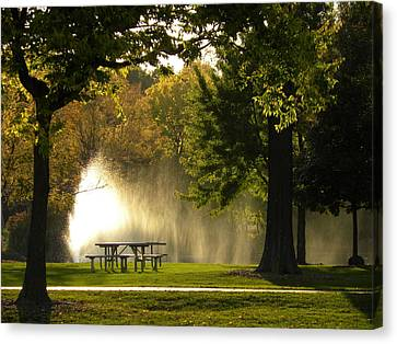Canvas Print featuring the photograph Fountain Mist by Teresa Schomig