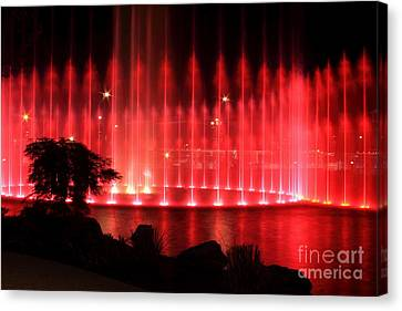 Fountain Of Red Canvas Print by Geraldine DeBoer