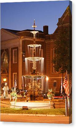 Fountain On Chambersburg Square Canvas Print by L Granville Laird