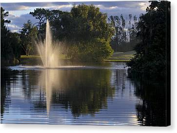 Fountain On Golf Course Canvas Print by M Cohen