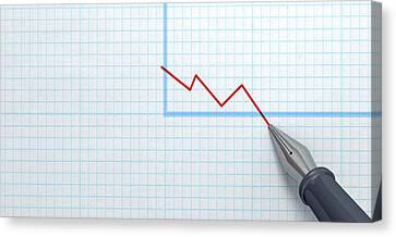 Fountain Pen Drawing Declining Graph Canvas Print by Allan Swart