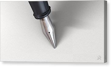 Fountain Pen In Writing Position Canvas Print by Allan Swart