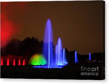 Canvas Print featuring the photograph Fountain Show At Longwood Gardens by Vadim Levin