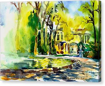 Fountain Spray - Brussels In Spring Canvas Print by Anna Lobovikov-Katz